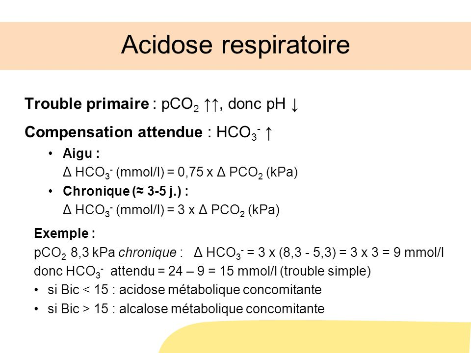 Acidose respiratoire Trouble primaire : pCO2 ↑↑, donc pH ↓