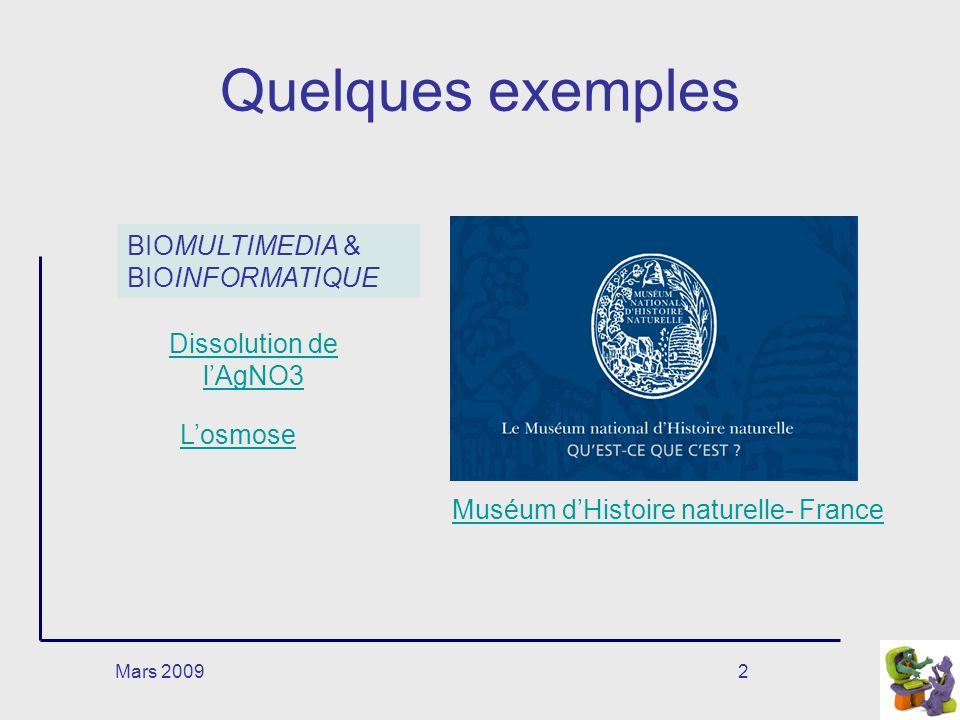 Quelques exemples BIOMULTIMEDIA & BIOINFORMATIQUE