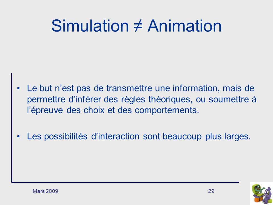 Simulation ≠ Animation