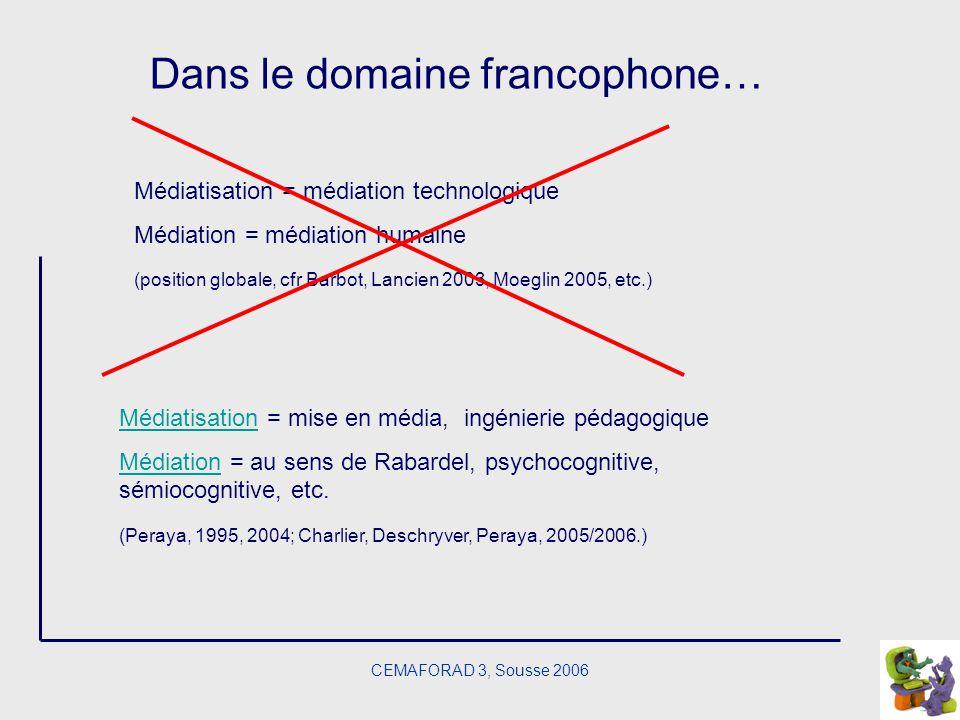 Dans le domaine francophone…
