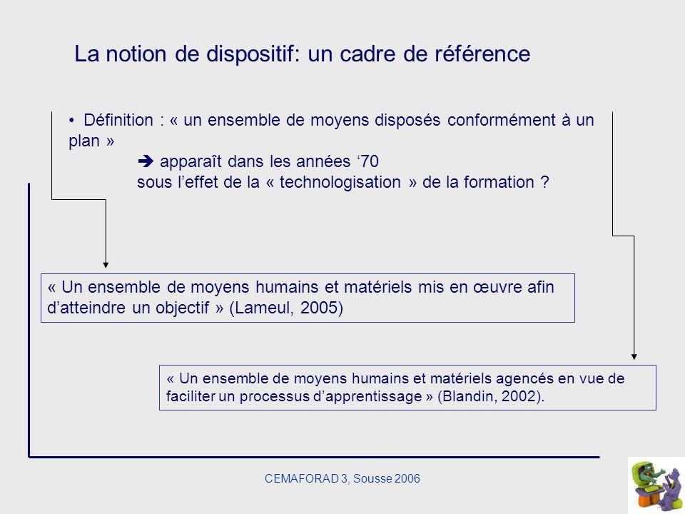 La notion de dispositif: un cadre de référence