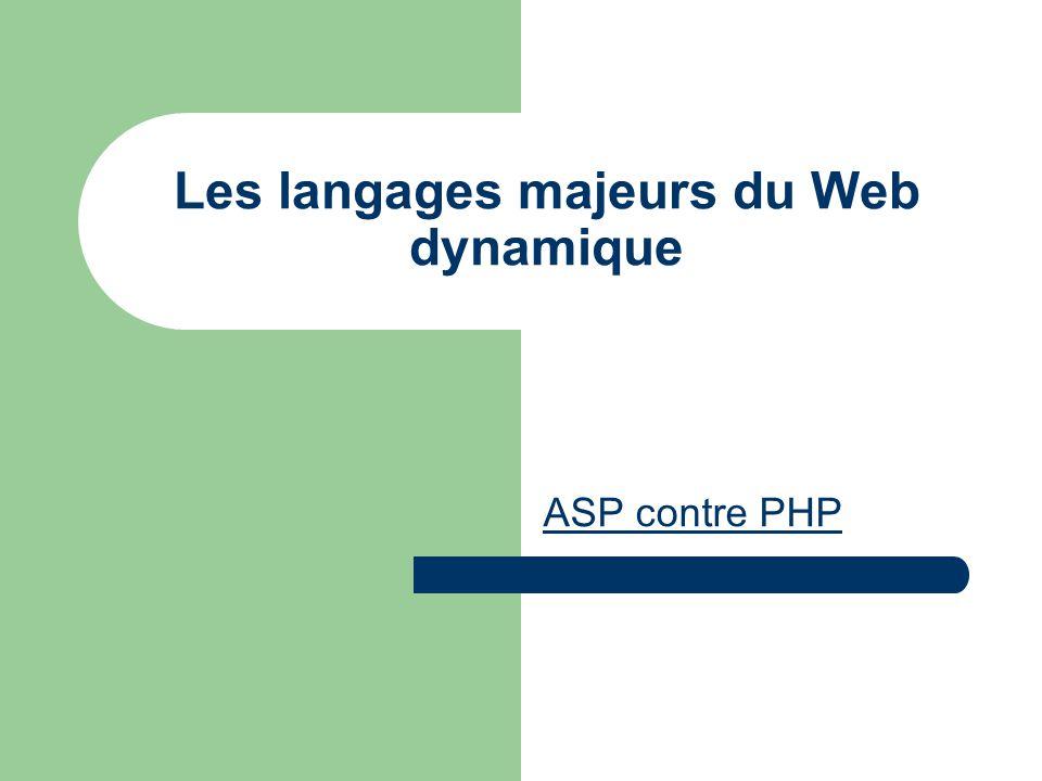 Les langages majeurs du Web dynamique