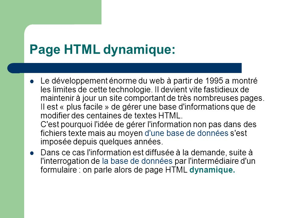 Page HTML dynamique: