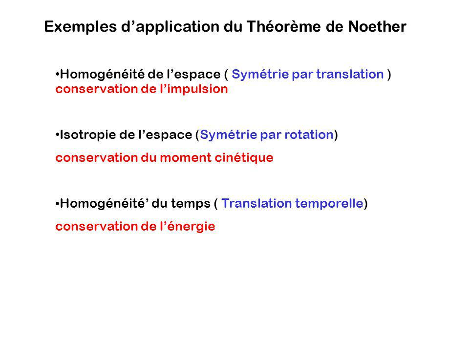 Exemples d'application du Théorème de Noether
