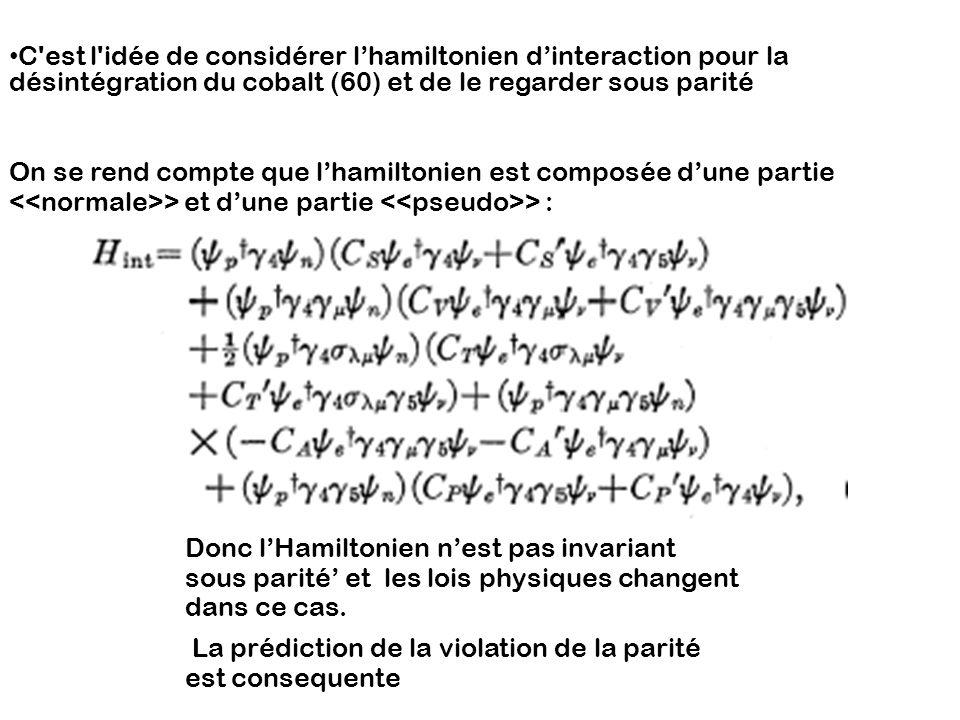 C est l idée de considérer l'hamiltonien d'interaction pour la désintégration du cobalt (60) et de le regarder sous parité