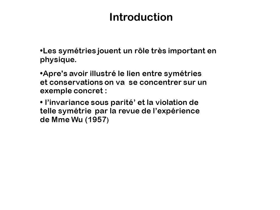 Introduction Les symétries jouent un rôle très important en physique.