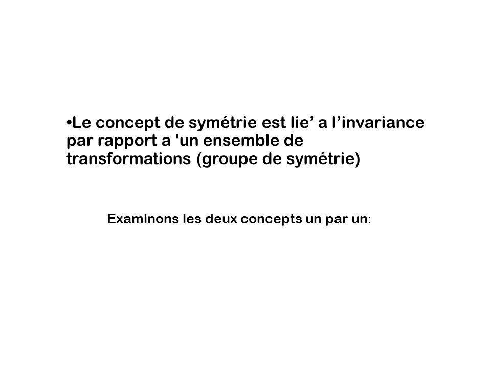 Le concept de symétrie est lie' a l'invariance par rapport a un ensemble de transformations (groupe de symétrie)