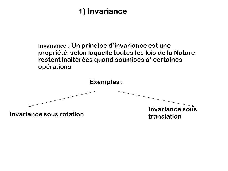 1) Invariance Exemples : Invariance sous translation