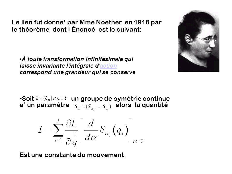 Soit un groupe de symétrie continue a' un paramètre alors la quantité