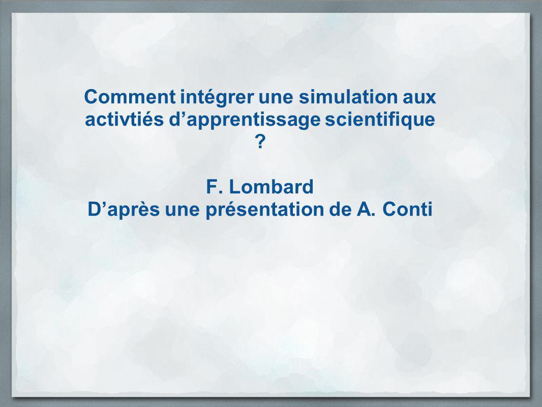 D'après une présentation de A. Conti