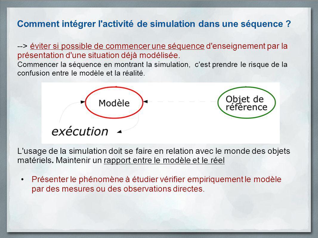Comment intégrer l activité de simulation dans une séquence