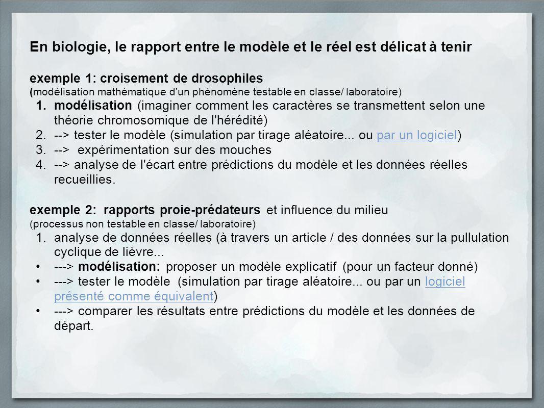 En biologie, le rapport entre le modèle et le réel est délicat à tenir