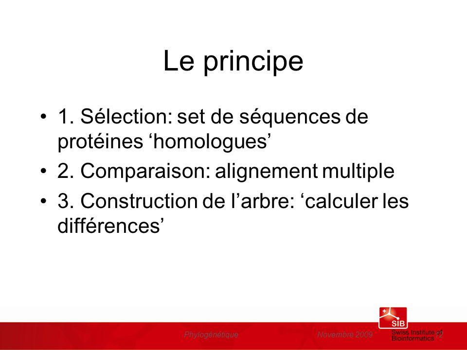 Le principe 1. Sélection: set de séquences de protéines 'homologues'