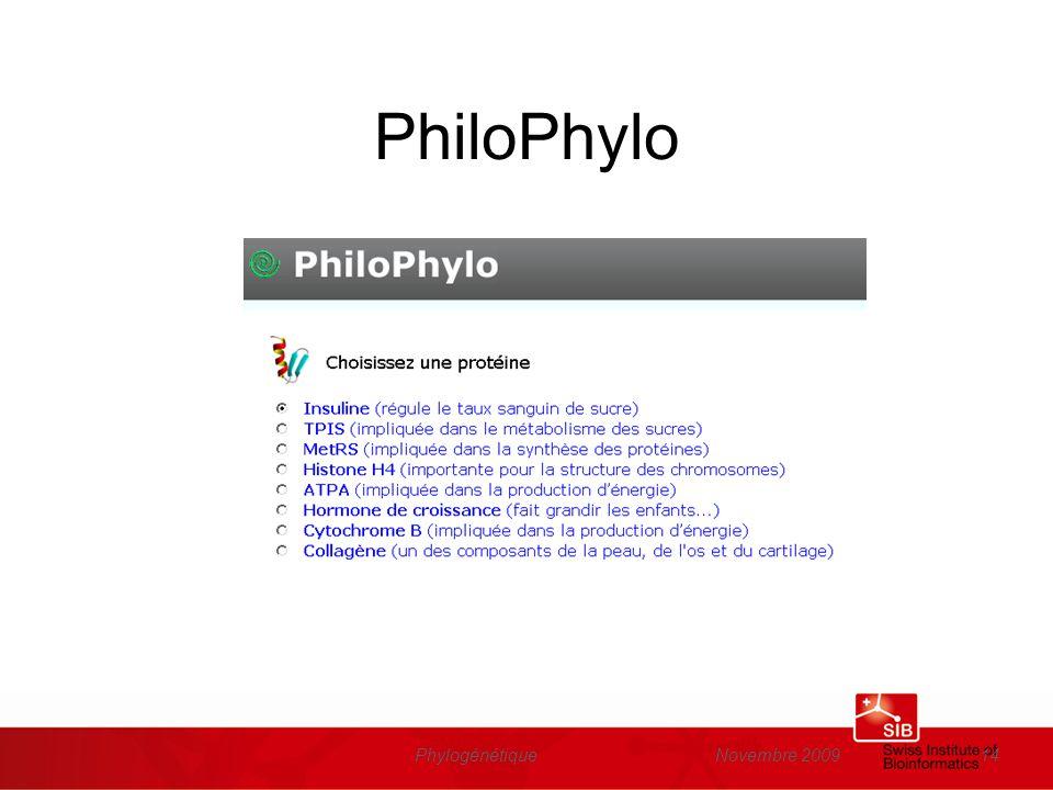 PhiloPhylo Phylogénétique Novembre 2009