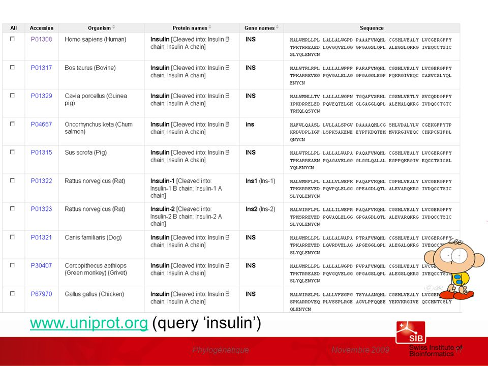 www.uniprot.org (query 'insulin')