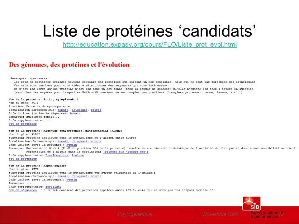 Liste de protéines 'candidats' http://education. expasy