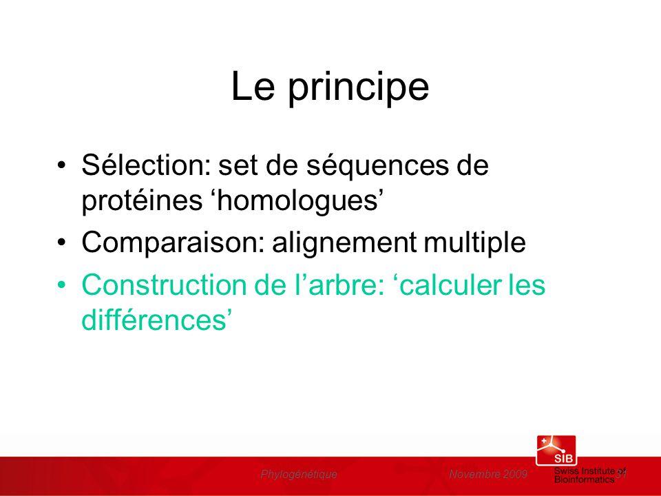 Le principe Sélection: set de séquences de protéines 'homologues'