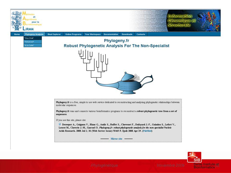 www.phylogeny.fr Phylogénétique Novembre 2009