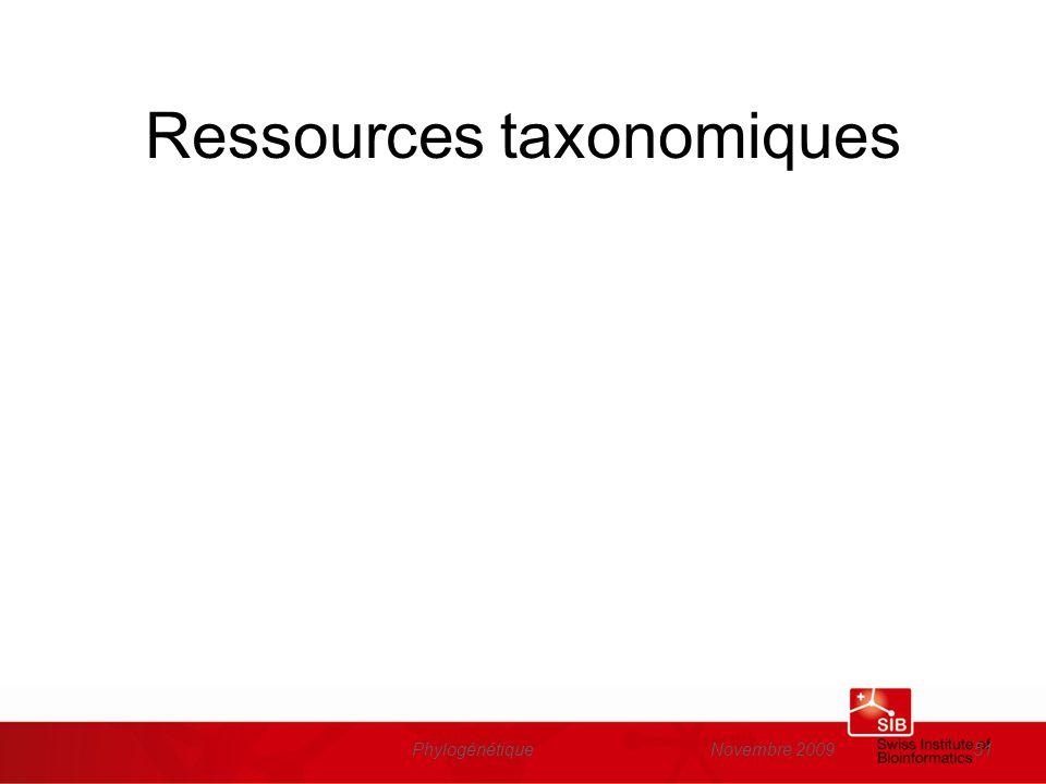 Ressources taxonomiques