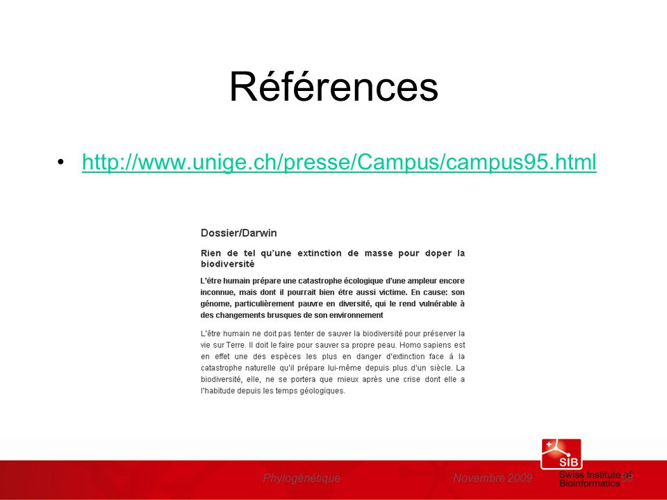 Références http://www.unige.ch/presse/Campus/campus95.html