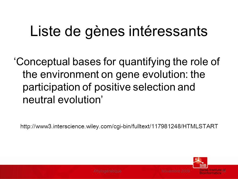 Liste de gènes intéressants