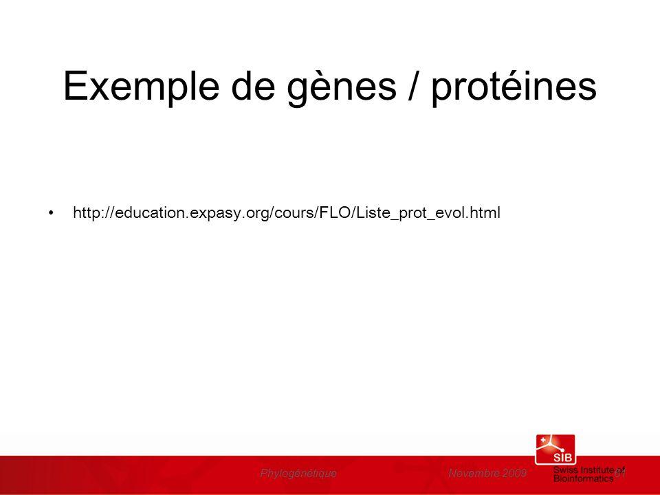 Exemple de gènes / protéines