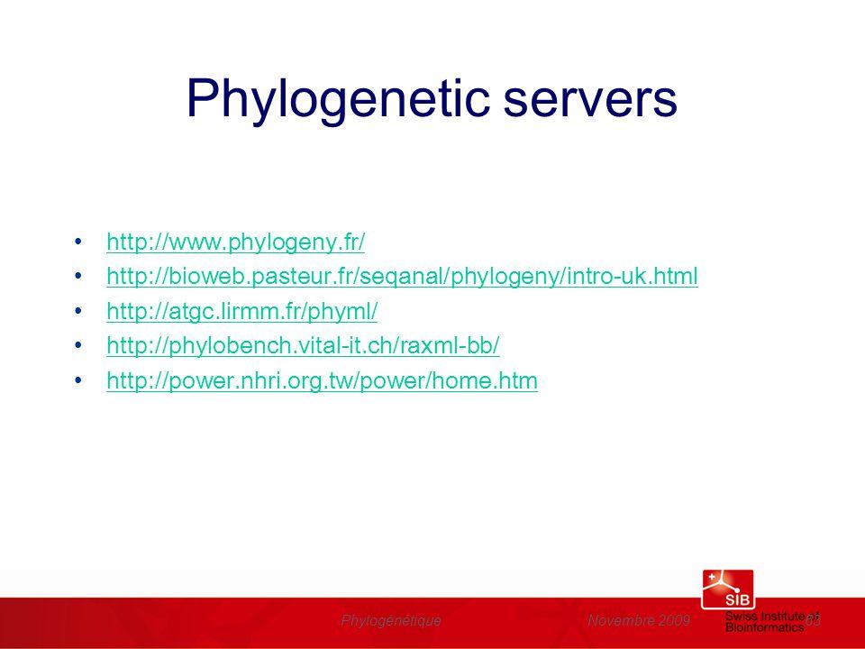 Phylogenetic servers http://www.phylogeny.fr/