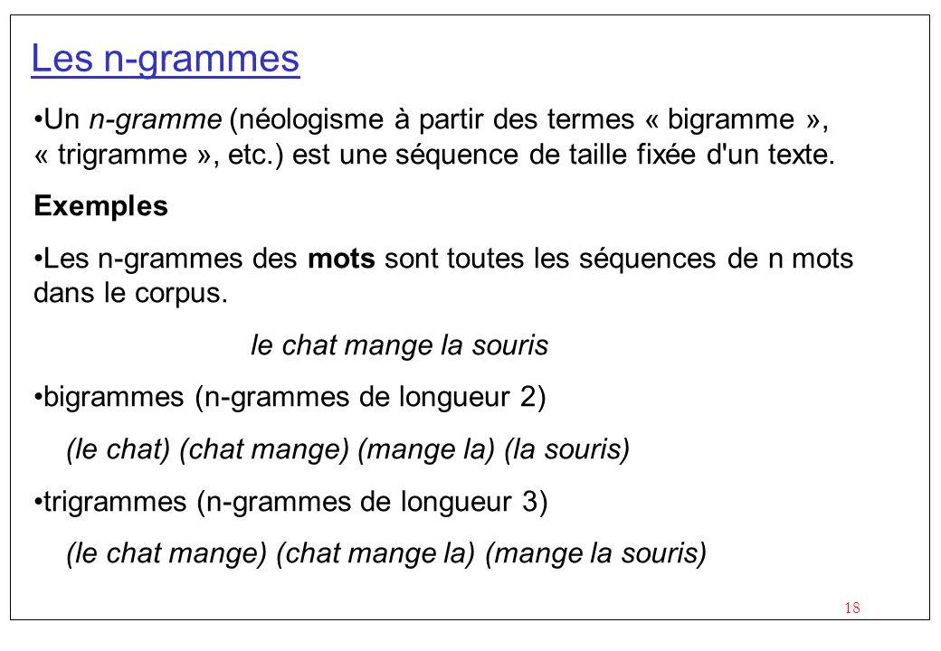 Les n-grammes Un n-gramme (néologisme à partir des termes « bigramme », « trigramme », etc.) est une séquence de taille fixée d un texte.