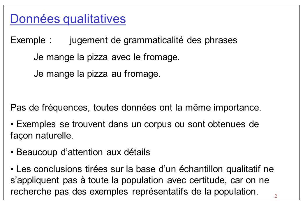Données qualitatives Exemple : jugement de grammaticalité des phrases