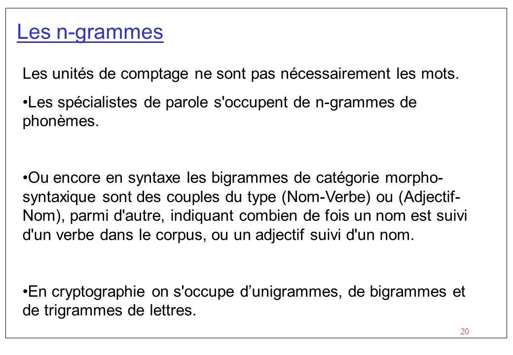 Les n-grammes Les unités de comptage ne sont pas nécessairement les mots. Les spécialistes de parole s occupent de n-grammes de phonèmes.