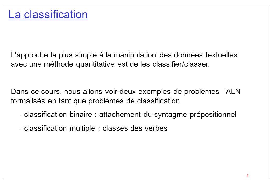 La classification L approche la plus simple à la manipulation des données textuelles avec une méthode quantitative est de les classifier/classer.