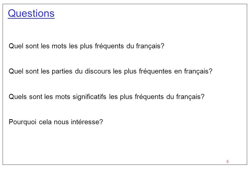 Questions Quel sont les mots les plus fréquents du français