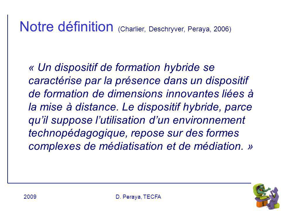 Notre définition (Charlier, Deschryver, Peraya, 2006)