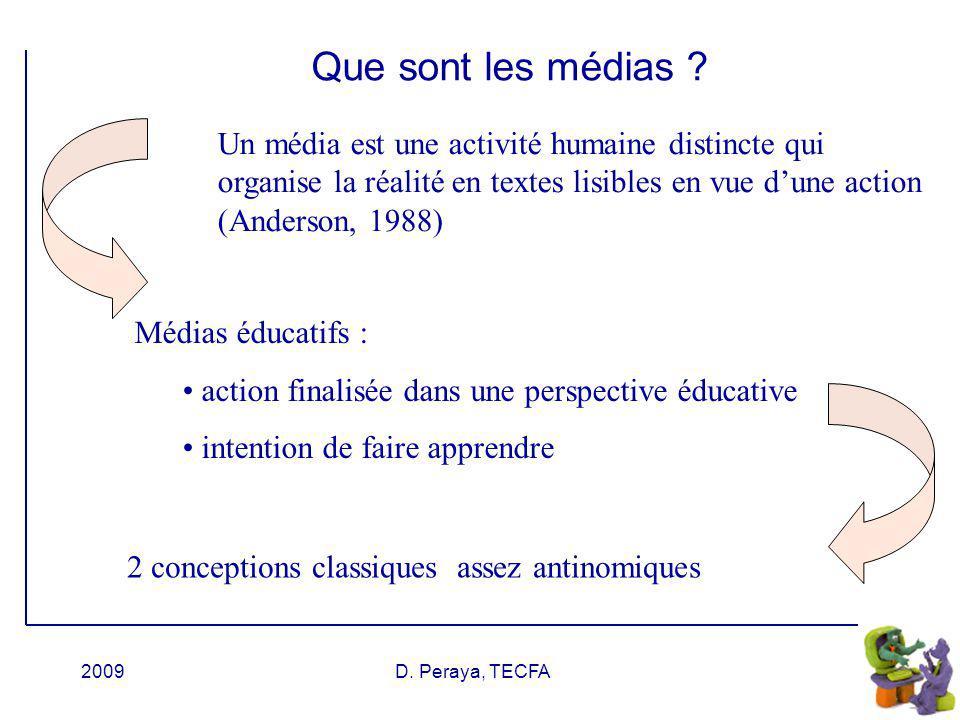 Que sont les médias Un média est une activité humaine distincte qui organise la réalité en textes lisibles en vue d'une action (Anderson, 1988)
