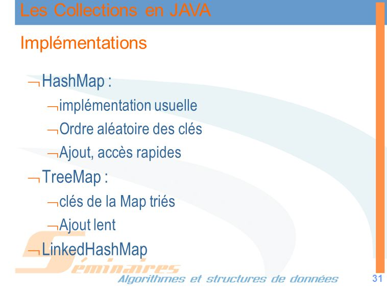 Implémentations HashMap : TreeMap : LinkedHashMap