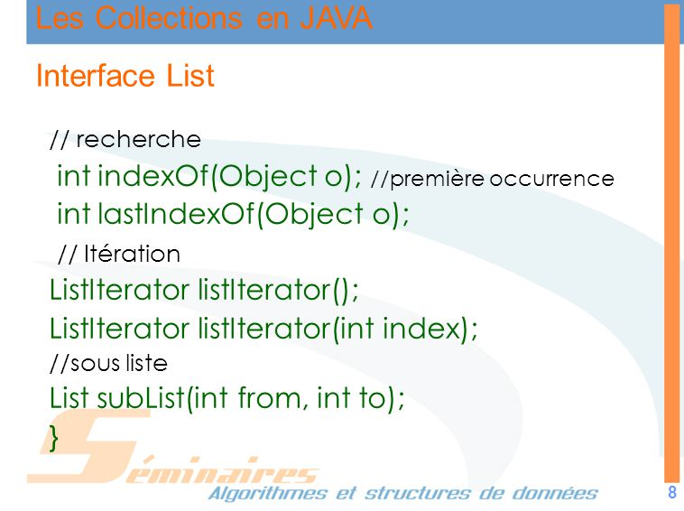 Interface List int indexOf(Object o); //première occurrence