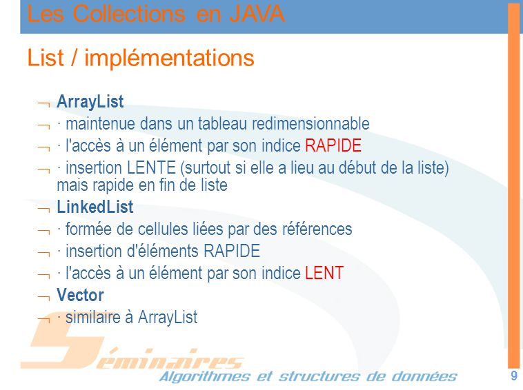 List / implémentations