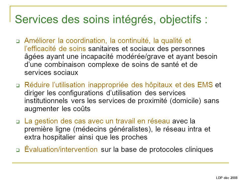 Services des soins intégrés, objectifs :