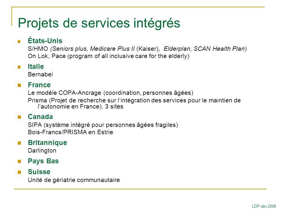 Projets de services intégrés
