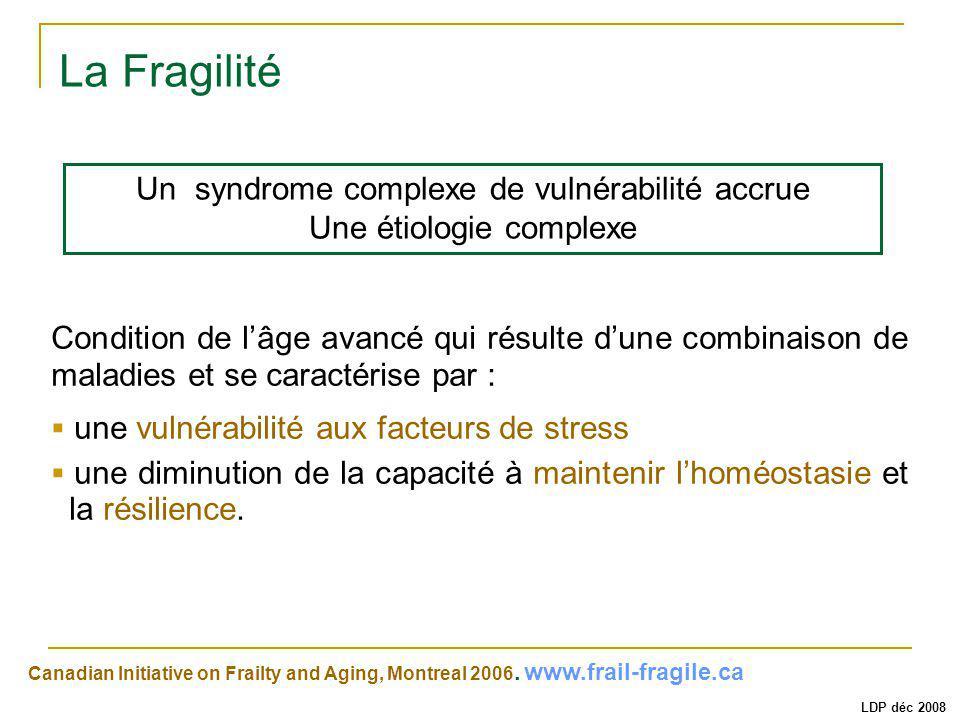 La Fragilité Un syndrome complexe de vulnérabilité accrue