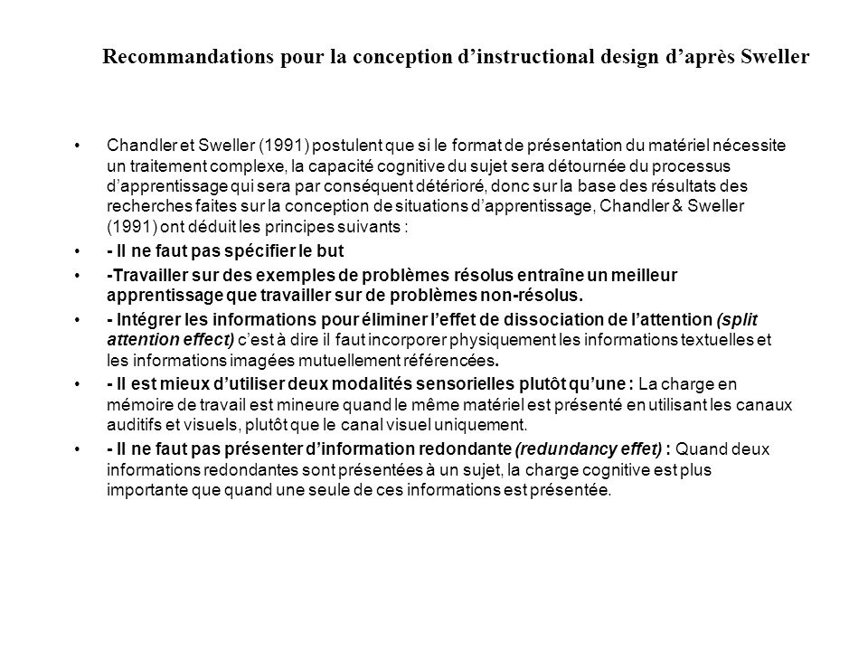 Recommandations pour la conception d'instructional design d'après Sweller