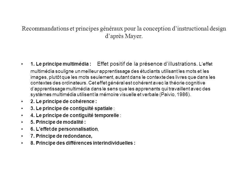 Recommandations et principes généraux pour la conception d'instructional design d'après Mayer.