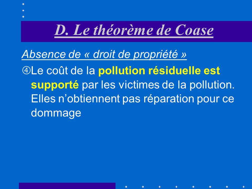 D. Le théorème de Coase Absence de « droit de propriété »