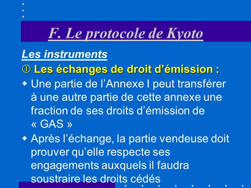 F. Le protocole de Kyoto Les instruments