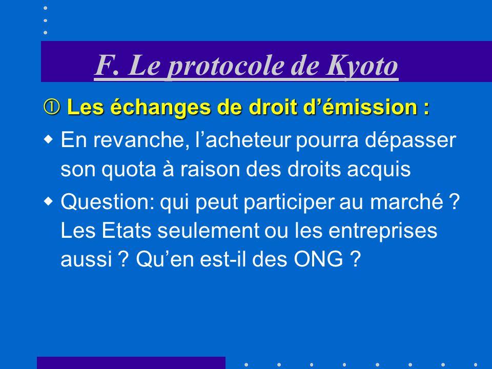 F. Le protocole de Kyoto Les échanges de droit d'émission :