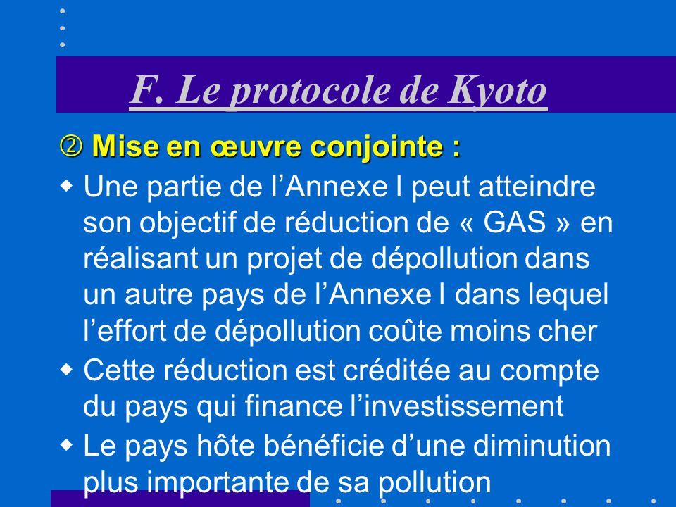 F. Le protocole de Kyoto Mise en œuvre conjointe :