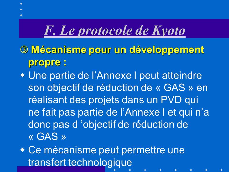 F. Le protocole de Kyoto Mécanisme pour un développement propre :