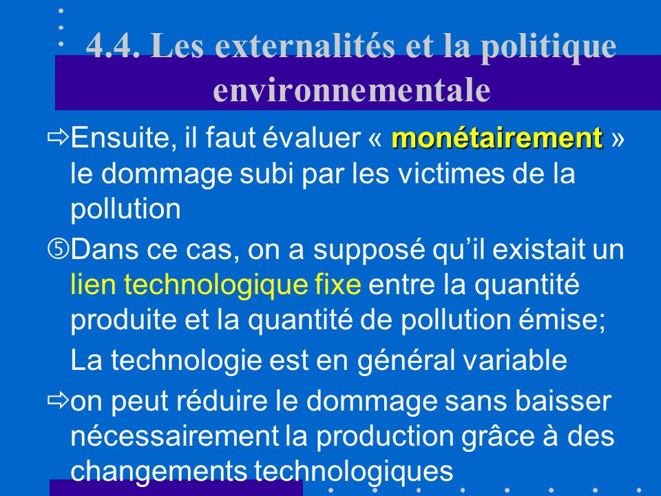 4.4. Les externalités et la politique environnementale