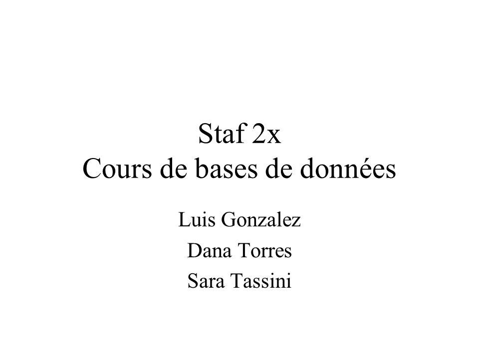 Staf 2x Cours de bases de données
