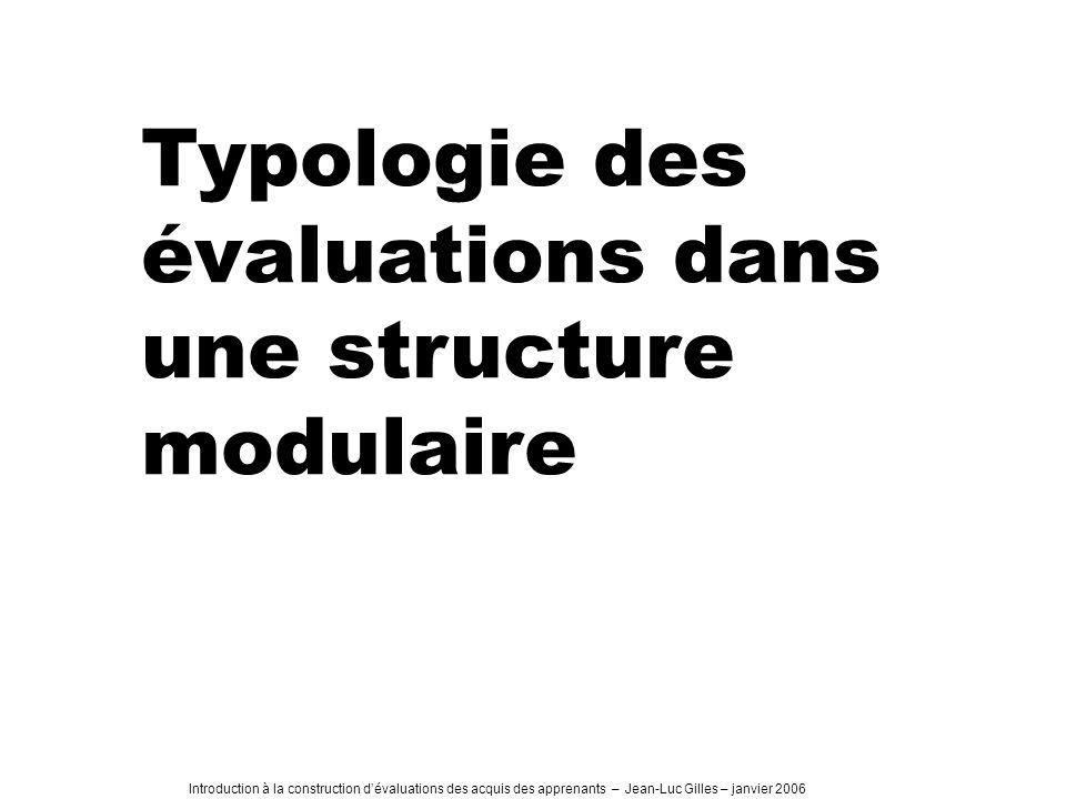 Typologie des évaluations dans une structure modulaire